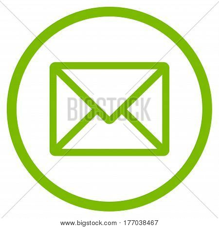 Letter rounded icon. Vector illustration style is flat iconic symbol inside circle, eco green color, white background.