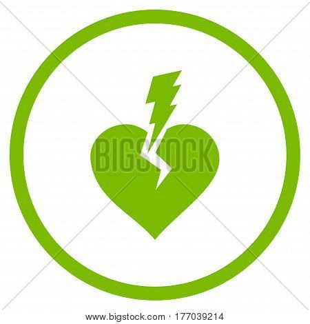 Love Heart Crash rounded icon. Vector illustration style is flat iconic symbol inside circle, eco green color, white background.