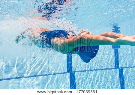 Backstroke Swimming Woman