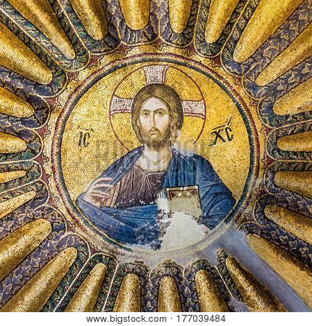 Mosaic of Christ Pantocrator in Chora Church Istanbul Oct 11 2013