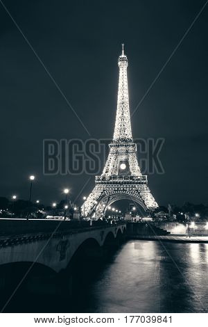 PARIS, FRANCE - MAY 13: Eiffel Tower night view on May 13, 2015 in Paris. It is the most-visited paid monument in the world with annual 250M visitors.