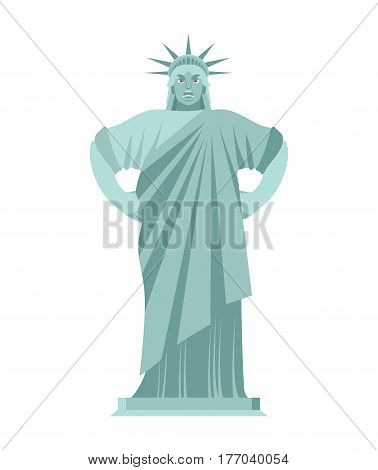 Statue Of Liberty Angry. Aggressive Landmark  America. Sculpture Architecture Usa