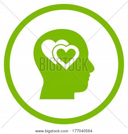 Love In Mind rounded icon. Vector illustration style is flat iconic symbol inside circle, eco green color, white background.