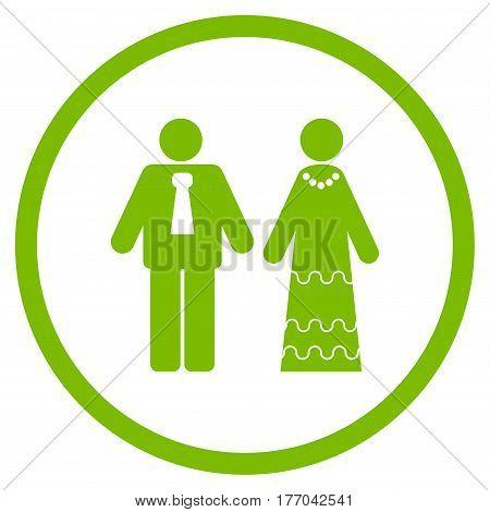 Newlyweds rounded icon. Vector illustration style is flat iconic symbol inside circle, eco green color, white background.