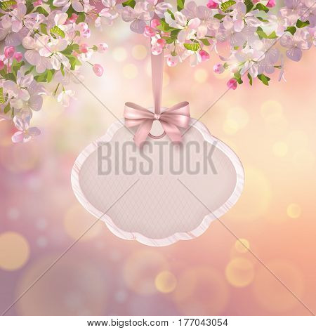 Vector background with spring Apple blossom. Blooming tree branch in springtime with hanging wooden sign