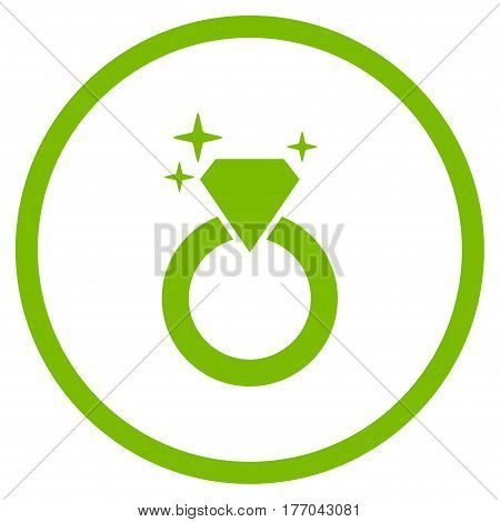 Sparkle Diamond Ring rounded icon. Vector illustration style is flat iconic symbol inside circle, eco green color, white background.