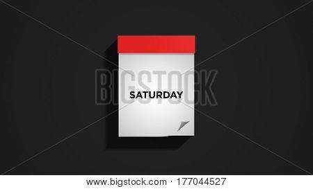 Red weekly calendar on a dark gray wall, showing Saturday. Digital illustration.