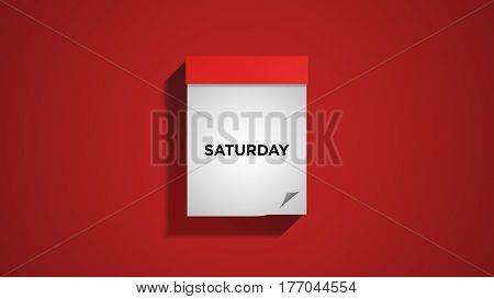 Red weekly calendar on a red wall, showing Saturday. Digital illustration.