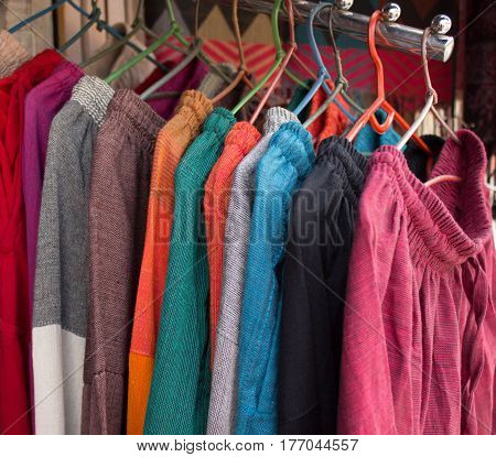 Textile goods on the indian market, Nepal