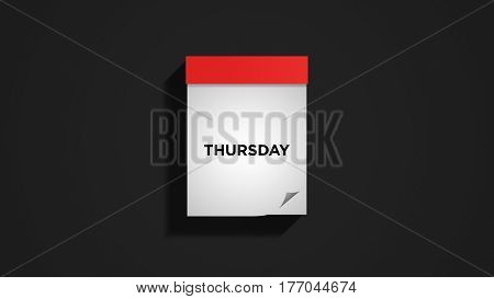 Red weekly calendar on a dark gray wall, showing Thursday. Digital illustration.