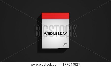 Red weekly calendar on a dark gray wall, showing Wednesday. Digital illustration.