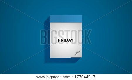 Blue weekly calendar on a blue wall, showing Friday. Digital illustration.