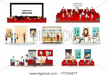 Cinema interior set. Screen and rows with audience, tickets and posters, cinema bar. isolated icons on white background.