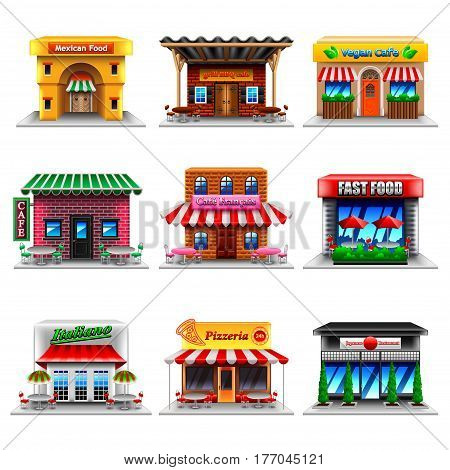 Cafe and restaurants icons detailed photo realistic vector set