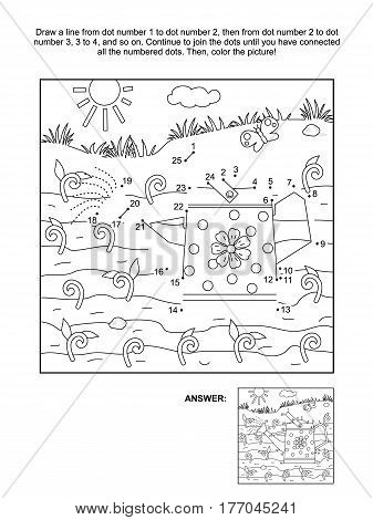 Spring and gardening themed connect the dots picture puzzle and coloring page with watering can and young sprouts. Answer included.