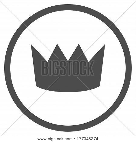 Crown rounded icon. Vector illustration style is flat iconic symbol inside circle, gray color, white background.