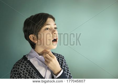 Teenager Singer Boy Sing Close Up Portrait