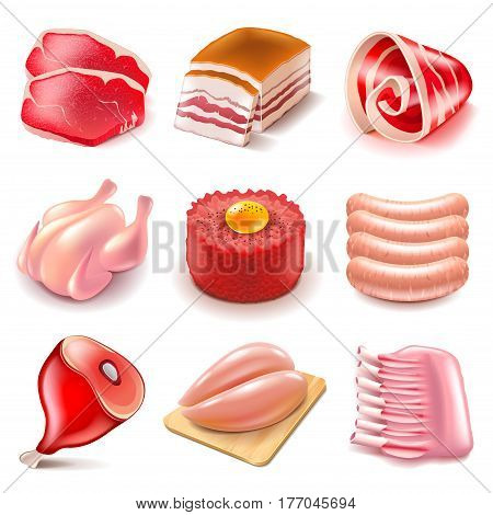 Raw meat icons detailed photo realistic vector set