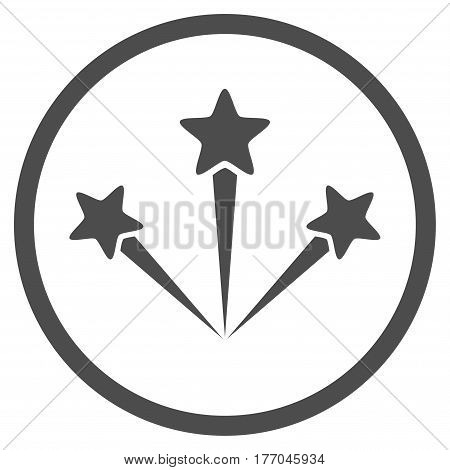 Festive Fireworks rounded icon. Vector illustration style is flat iconic symbol inside circle, gray color, white background.
