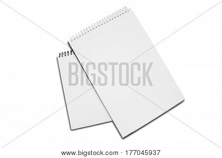Two Blank White Spiral Bound Paper Drawing Pad With Shadow Isolated On White Background