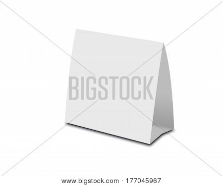 Blank White Table Tent On White. Paper Vertical Cards Isolated On White Background