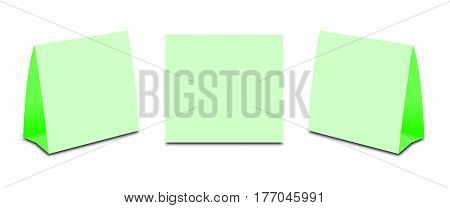Blank Green Table Tent On White. Paper Vertical Cards Isolated On White Background. Front, Left And