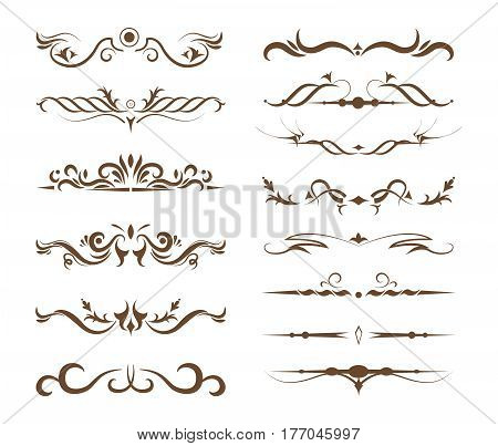 Ornamental dividers set on white background. Classic, floral and ethnic ornaments. Embroidery.
