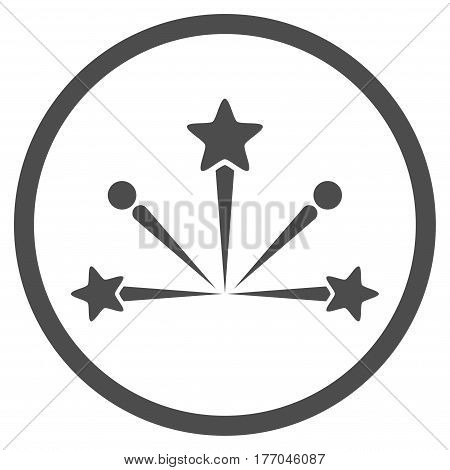 Fireworks Bang rounded icon. Vector illustration style is flat iconic symbol inside circle, gray color, white background.