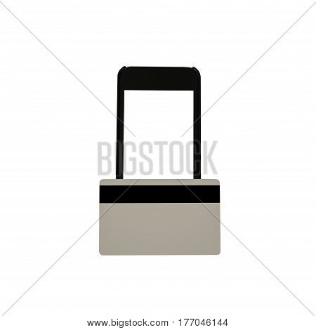 Closeup Of Black Smartphone With Blank White Screen And A Credit Card. The Concept Of Contactless Pa