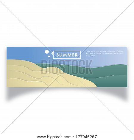 Summer Banner Illustration, landscape ratio, minimalism elegant design
