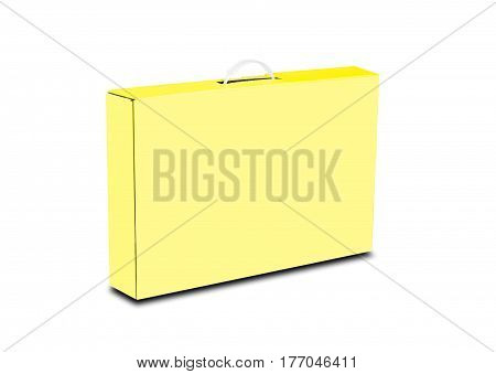 Yellow Box With A Handle. Packing Box For Laptop. Isolated On White Background