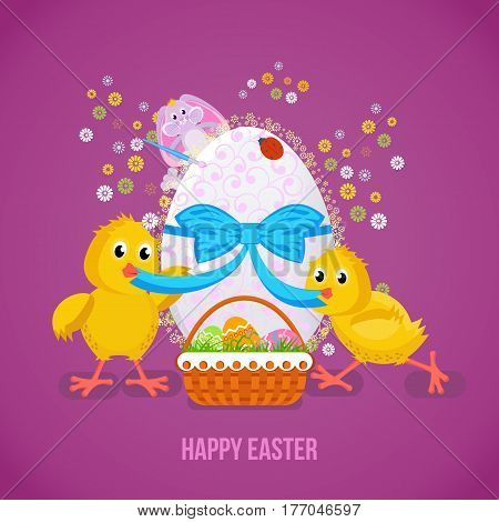 Happy easter greeting card. Two nestlings untie the tape on the Easter egg, behind, peeps the cute bunny. Vector illustration. Can be used in banners, invitation, postcards, poster.