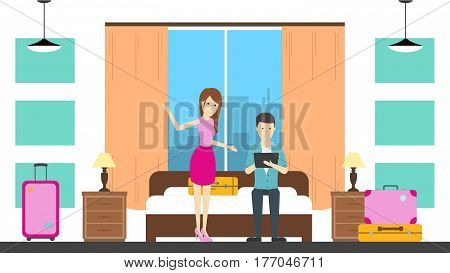 Hostel room service with host. Contemporary design. Hotel bedroom with bed, chair, lamp and window. Man and woman.