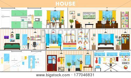 House interior set. Inside the house. Bedroom and kitchen, bathroom and more.