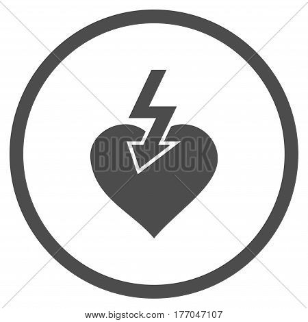 Heart Shock Strike rounded icon. Vector illustration style is flat iconic symbol inside circle, gray color, white background.