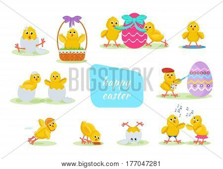 Happy easter greeting card. Lovely chickens have fun, celebrate, indulge, in Easter, run, fly, paint eggs, sing. Cartoon vector illustration isolated