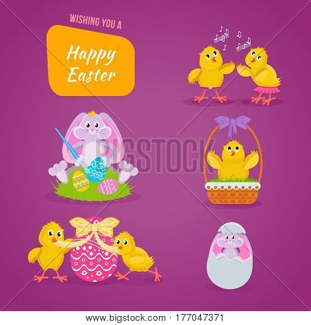 Happy easter greeting card. Lovely chickens have fun, celebrate, indulge, in Easter, run, fly, paint eggs, sing. Vector illustration. Can be used in banners, invitation postcards poster
