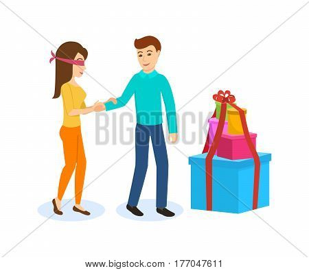 Young couple in love, the guy leads a girl with blindfolded, to the side large boxes of gifts, wants to surprise. Vector illustration.