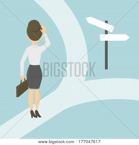 Businesswoman on the crossroads. Choosing the right way. Concept of changes, strategy and direction.