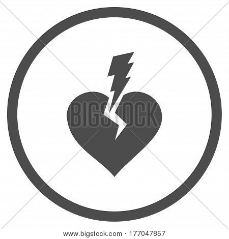 Love Heart Crash rounded icon. Vector illustration style is flat iconic symbol inside circle, gray color, white background.