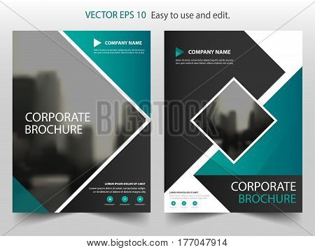 Green square Vector Brochure annual report Leaflet Flyer template design book cover layout design abstract business presentation template a4 size design