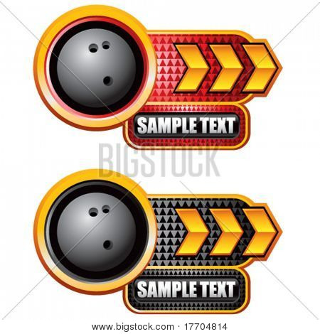 bowling ball on glossy arrow web button