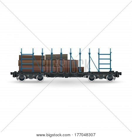 Railway Platform for Timber Transportation Isolated, Train with Timber on White Background, Railway and Cargo Transport, Vector Illustration