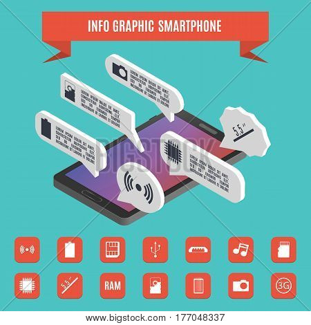 Set elements of infographics smartphone. 3D isometric style vector illustration. Flat mobile icons.