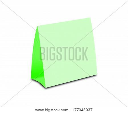 Blank Green Table Tent On White. Paper Vertical Cards Isolated On White Background