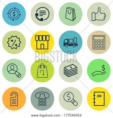 Set Of 16 E-Commerce Icons. Includes Delivery, Price, Refund And Other Symbols. Beautiful Design Elements.