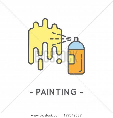 Line Color Spray Paint Icon