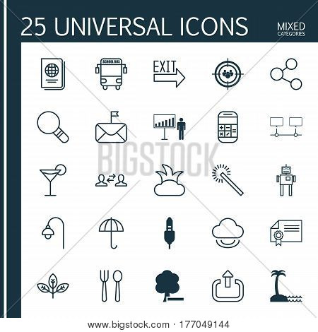 Set Of 25 Universal Editable Icons. Can Be Used For Web, Mobile And App Design. Includes Elements Such As Virtual Storage, Bush, Eating House And More.