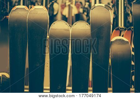 Skis Exposed In The Rental Winter Shop
