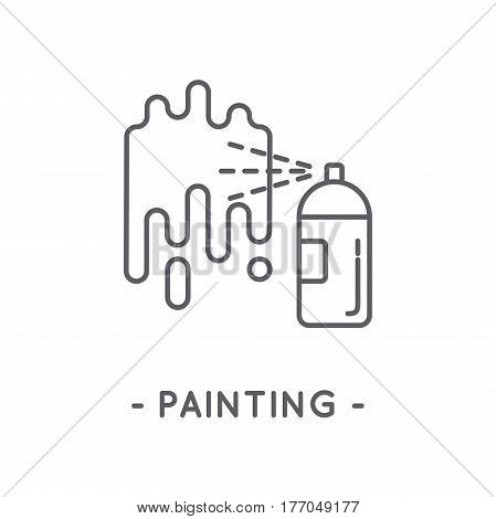 Universal minimal black spray paint line icon on white background